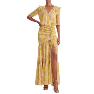 Veronica Beard Yellow Floral Silk-Chiffon Mick Maxi Dress