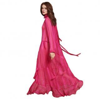 Munthe Pink Chiffon Striped Maxi Dress