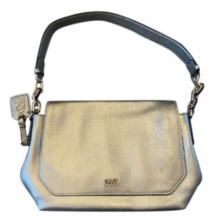 Karl Lagerfeld Metallic Silver Shoulder Bag