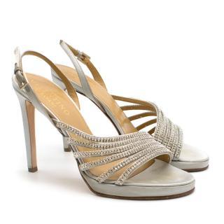 Valentino Silver Crystal Draped Slingback Sandals