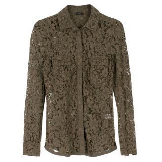 Joseph Khaki Lace Button Cotton Blend Down Shirt