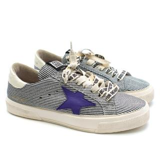 Golden Goose May Striped Glitter Low Top Trainers