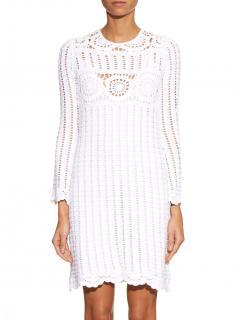 Isabel Marant Etoile Harriet Crocheted Long-Sleeve White Dress