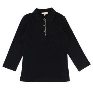Burberry Black Cotton Long Sleeve Polo Shirt