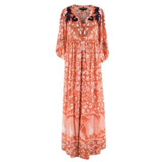 Hemant & Nandita Orange Silk Floral Maxi Dress
