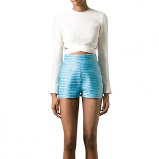 Ermanno Scervino Blue Lurex High Waisted Shorts
