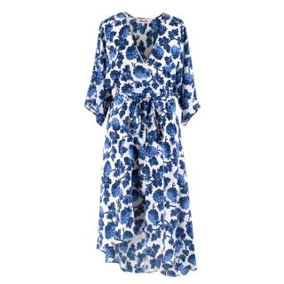 Diane Von Furstenberg Blueberry Printed Silk Wrap Dress
