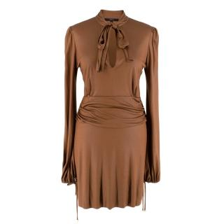 Gucci by Tom Ford Bronze Ruched Pussy Bow Mini Dress