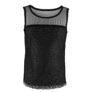 Escada Black Sheer Lace Vest Top