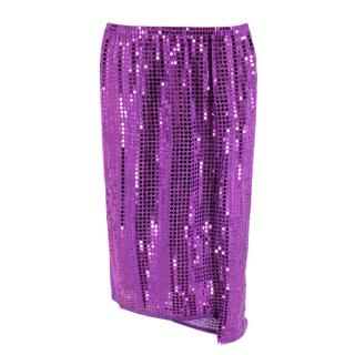 Comme Des Garcons Purple Sequin Asymmetrical Skirt