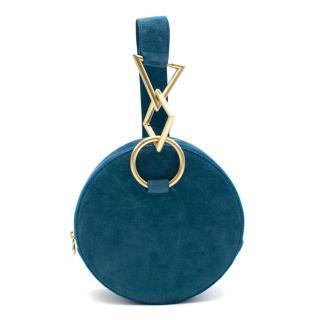 Tara Zadeh Blue Azar Suede Bracelet Bag