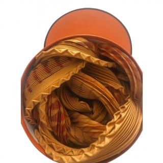 Hermes Orange/Gold Accordion Pleat Plisse Scarf