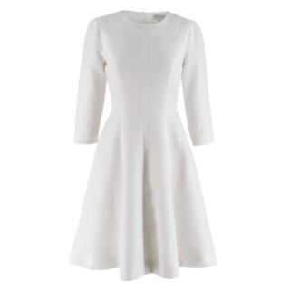 Beulah Textured White Cotton A-Line Long Sleeved Dress