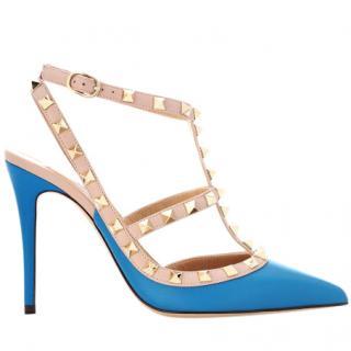 Valentino Blue Rockstud Slingback Sandals