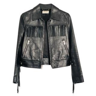 Saint Laurent Black Fringed Leather Jacket