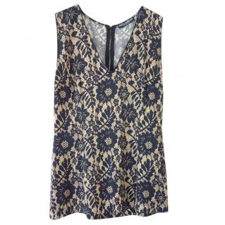 Dolce & Gabbana Navy Floral Lace Sleeveless Top