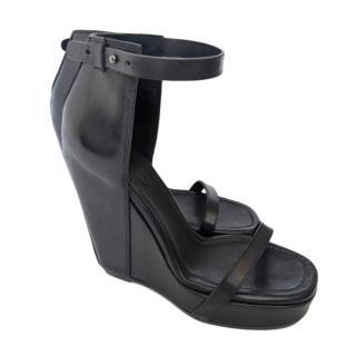 Rick Owens Black Leather Wedge Platform Sandals