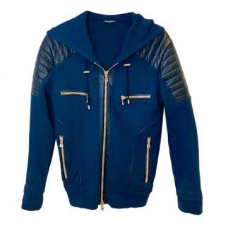 Balmain Navy Cotton Leather Paneled Jacket