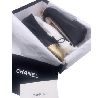 Chanel Black & Gold Leather Ballerina Flats