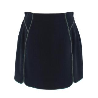 O'2nd Navy Crepe Mini Skirt with Green Trim