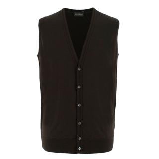 John Smedley Brown V-Neck Wool Waistcoat