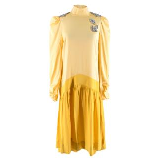 Custommade By Numbers Yellow Satin Crystal Embellished Dress