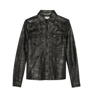 Saint Laurent Python And Lambskin Patchwork Western Shirt