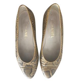 Chanel Snake Print Leather Ballerina Flats