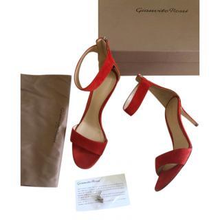 Gianvito Rossi Chilli Red Suede 85mm Sandals