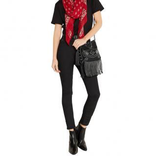 Saint Laurent Fringed Black Leather Crossbody Bag