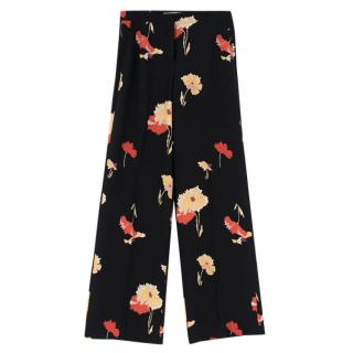 Etro Black Floral Print Straight Leg Trousers