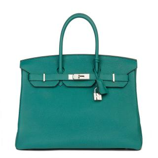 Hermes Togo Leather Birkin 35 in Malachite