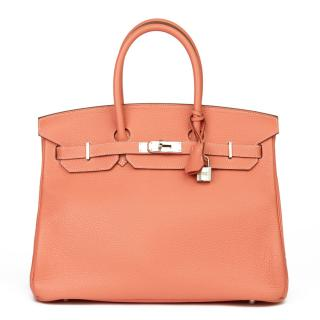 Hermes Clemence Leather Birkin 35 in Crevette