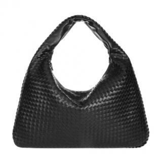 Bottega Veneta Black Intrecciato Leather Hobo Bag