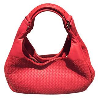 Bottega Veneta China Red Intrecciato Leather Tote Bag