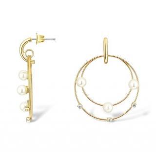 Salvatore Plata Faux Pearl & Crystal Double Hoop Earrings