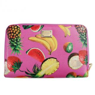 Dolce & Gabbana Fuchsia Fruit Print Zip-Around Wallet