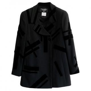Chanel Vintage Velvet & Wool Crepe Tailord Longline Jacket