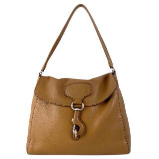 Prada Camel Brown Pebbled Leather Daino Shoulder Bag