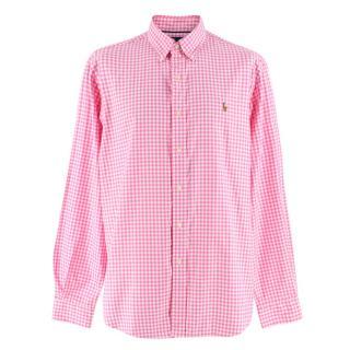 Ralph Lauren Pink Gingham Classic Fit Cotton Shirt