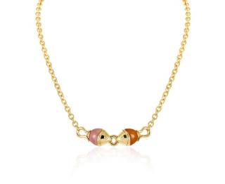 Bvlgari Yellow Gold Jade & Carnelian Fish Necklace