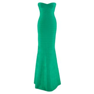 Herve Leger Green Sara Strapless Bandage Gown