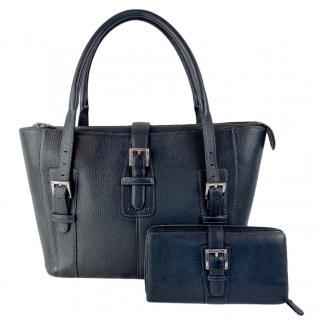 Loewe Black Leather Tote Bag & Wallet