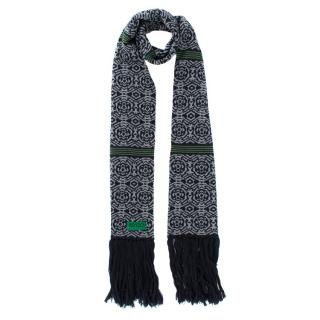 Kenzo Navy Wool Patterned Scarf