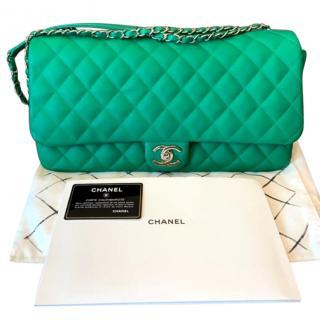 Chanel Green Lambskin Classic Single Flap Bag