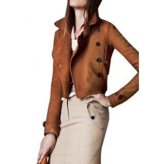 Burberry Ladies Nubuck Leather Cropped Flight Jacket