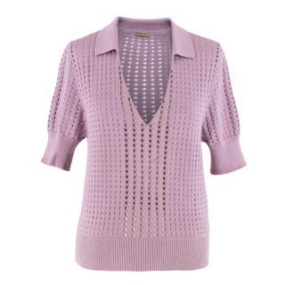 Bottega Veneta Lilac Perforated Knit Polo Shirt