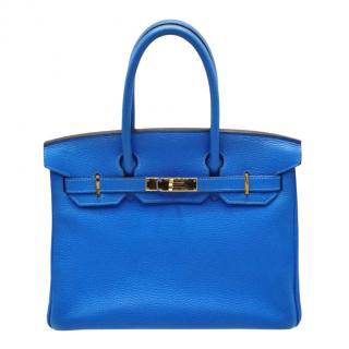 Hermes Clemence Leather Birkin 30 in Blue Hydra GHW