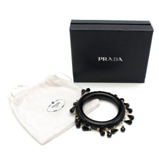 Prada Black Tassel Crystal Drop Bangle