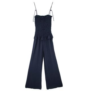 Tory Burch Navy Smocked Silk Crepe Jumpsuit